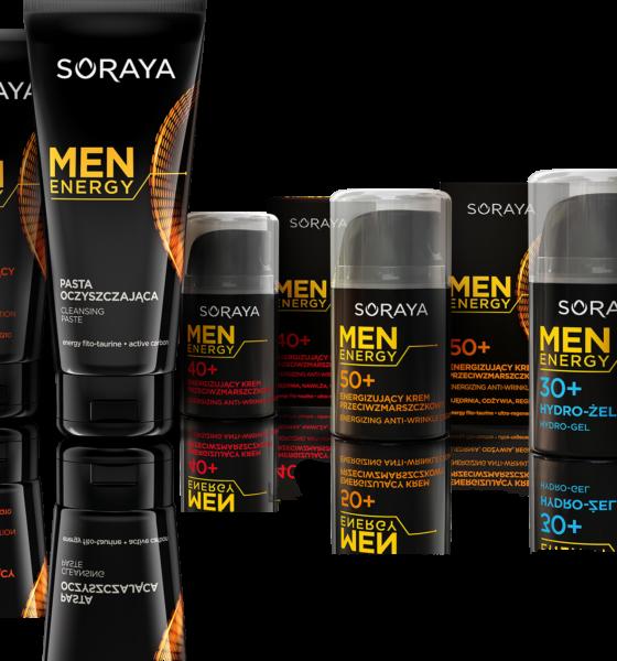 NOWA linia kosmetyków dla mężczyzn MEN ENERGY 30+, 40+, 50+ SORAYA